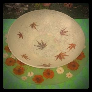 Vintage floral butterfly tray and maple leaf bowl